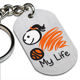 My Life Basketball (Female) Printed Dog Tag Keychain
