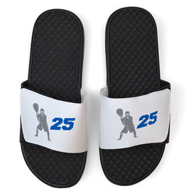 Lacrosse White Slide Sandals - Goalie With Number