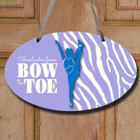 Cheerleading Oval Sign Cheerleader From Bow To Toe