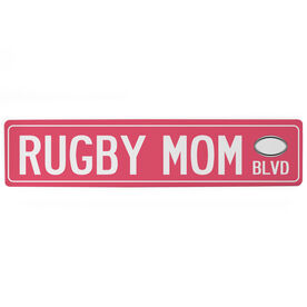"Rugby Aluminum Room Sign - Rugby Mom Blvd (4""x18"")"