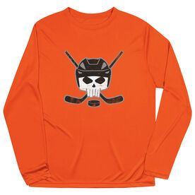 Hockey Long Sleeve Performance Tee - Hockey Helmet Skull