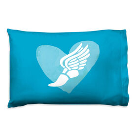 Track & Field Pillowcase - Watercolor Heart Winged Foot