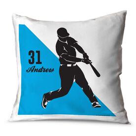 Baseball Throw Pillow Personalized Baseball Batter Silhouette