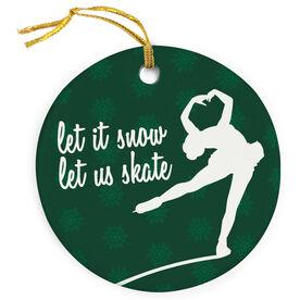 Figure Skating Porcelain Ornament Let It Snow, Let Us Skate
