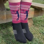 Tennis Printed Mid-Calf Socks - Tennis Girl