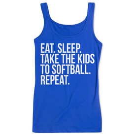 Softball Women's Athletic Tank Top - Eat Sleep Take The Kids To Softball