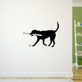 Mitts the Softball Dog Removable ChalkTalkGraphix Wall Decal