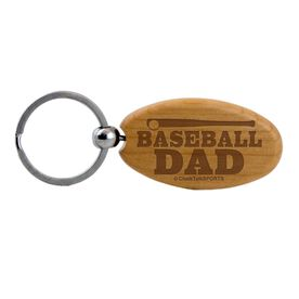 Baseball Dad Maple Key Chain