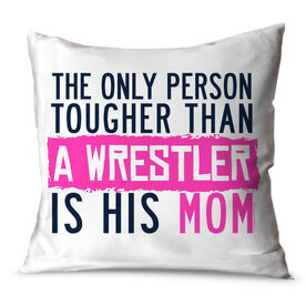 Wrestling Throw Pillow Tougher Than A Wrestler Mom