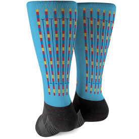 Swimming Printed Mid-Calf Socks - Lanes