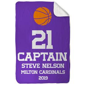 Basketball Sherpa Fleece Blanket - Personalized Captain