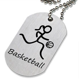 Basketball Girl (Stick Figure) Printed Dog Tag Necklace