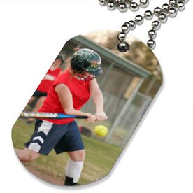 Custom Softball Photo Printed Dog Tag Necklace