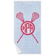 Girls Lacrosse Premium Beach Towel - Monogram with Crossed Sticks and Chevron