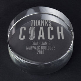Track and Field Personalized Engraved Crystal Gift - Thanks Coach