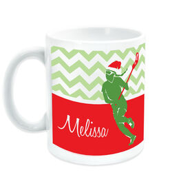 Girls Lacrosse Coffee Mug Personalized Lax Girl with Santa Hat