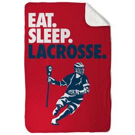 Guys Lacrosse Sherpa Fleece Blanket - Eat. Sleep. Lacrosse. Vertical