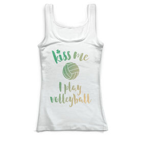 Volleyball Vintage Fitted Tank Top - Kiss Me I Play Volleyball