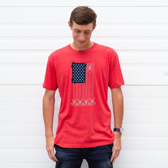 Guys Lacrosse Short Sleeve T-Shirt - American Flag
