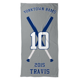Baseball Beach Towel Personalized Team with Crossed Bats