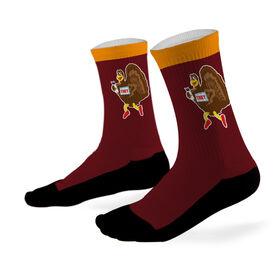 Running Printed Mid Calf Socks Running Turkey