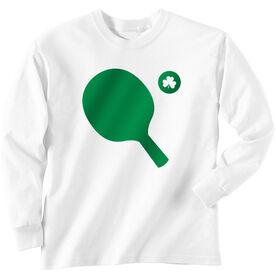 Ping Pong Tshirt Long Sleeve Ping Pong Ball Shamrock Cutout