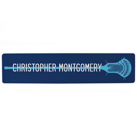 """Guys Lacrosse Aluminum Room Sign - Stick With Your Name (4""""x18"""")"""