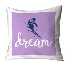 Skiing Throw Pillow - Dream