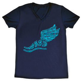 Cross Country  Women's Short Sleeve Tech Tee Winged Foot Inspirational Words