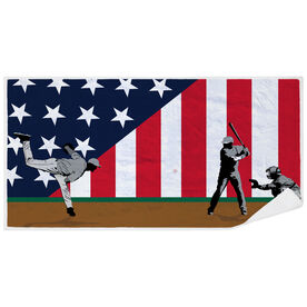 Baseball Premium Beach Towel - Go for the Home Run Patriotic