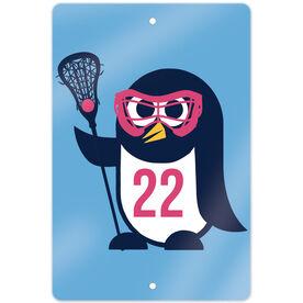 """Girls Lacrosse 18"""" X 12"""" Aluminum Room Sign Lax Penguin"""