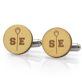 Guys Lacrosse Engraved Wood Cufflinks Goalie Split Initials