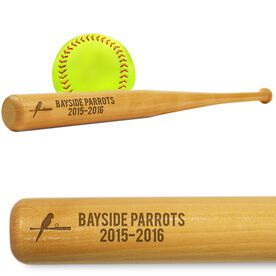 Softball Mini Engraved Bat Team Logo and Text