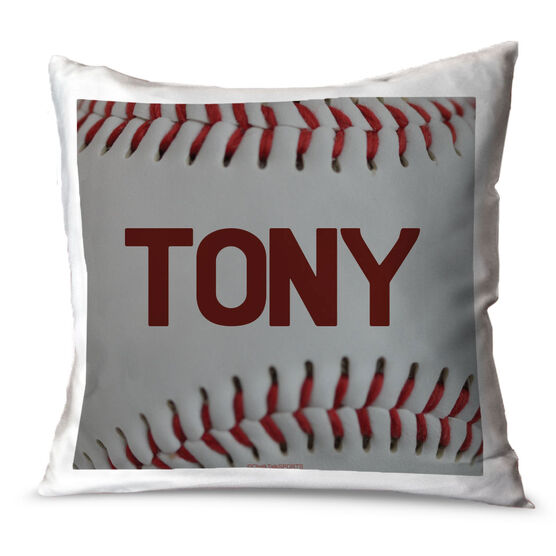 Baseball Throw Pillow Personalized Baseball Stitches
