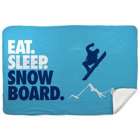 Snowboarding Sherpa Fleece Blanket - Eat. Sleep. Snowboard. Horizontal