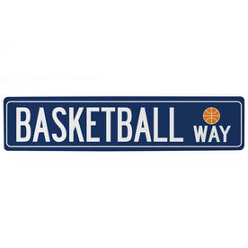 "Basketball Aluminum Room Sign - Basketball Way (4""x18"")"