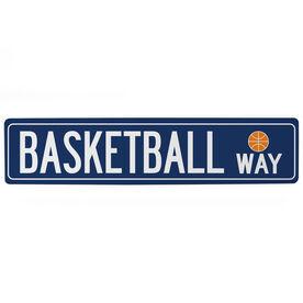 "Basketball Aluminum Room Sign - Basketball Way (4""x18"")"