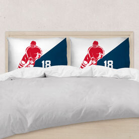 Hockey Pillowcase - Personalized Guy Player Silhouette