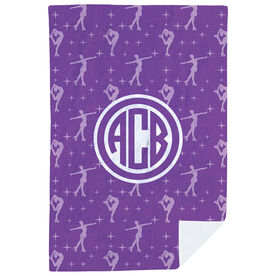 Figure Skating Premium Blanket - Figure Skater Pattern Monogram
