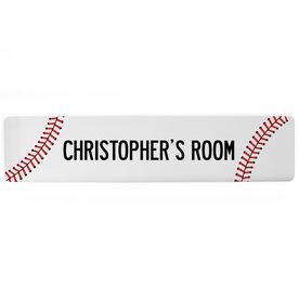 "Baseball Aluminum Room Sign - Your Room Baseball (4""x18"")"