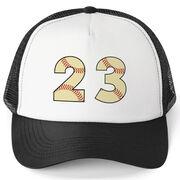 Baseball Trucker Hat - Number Stitches