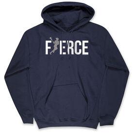 Girls Lacrosse Hooded Sweatshirt - Fierce Lacrosse Girl with Silver Glitter