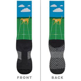 Guys Lacrosse Printed Mid-Calf Socks - Max The Lax Dog