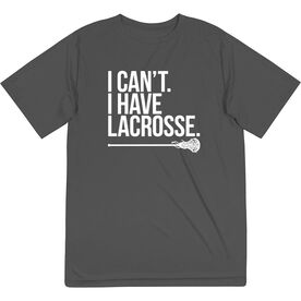 Girls Lacrosse Short Sleeve Performance Tee - I Can't. I Have Lacrosse