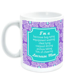 Girls Lacrosse Coffee Mug Mom Poem With 'Fleur De' Pattern