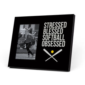 Softball Photo Frame - Stressed Blessed Softball Obsessed