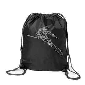 Skiing Sport Pack Cinch Sack - Skier Sketch