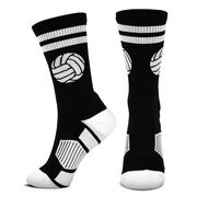 Volleyball Woven Mid-Calf Socks - Ball (Black/White)