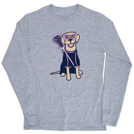 Girls Lacrosse Tshirt Long Sleeve - Lily The Lacrosse Dog