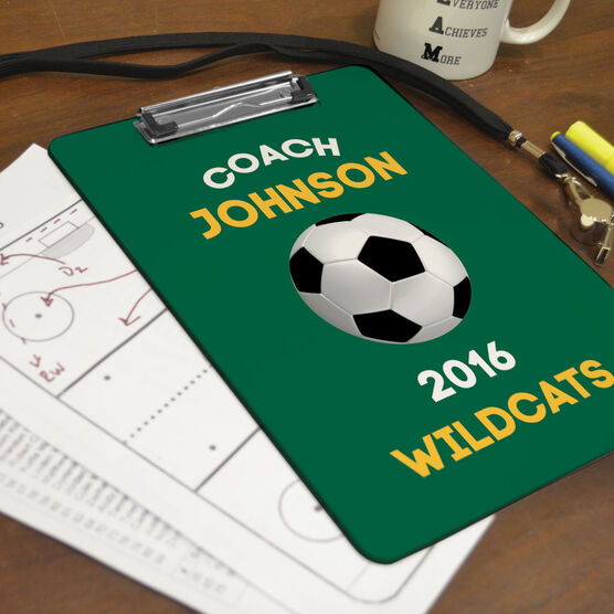 Soccer Custom Clipboard Coach with Soccer Ball